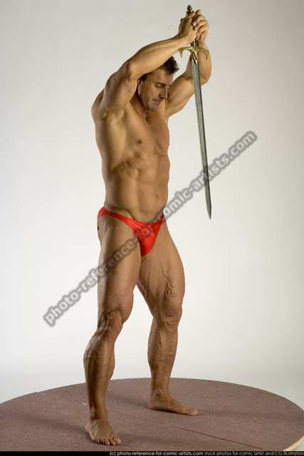Man Adult Muscular White Fighting with sword Standing poses Underwear