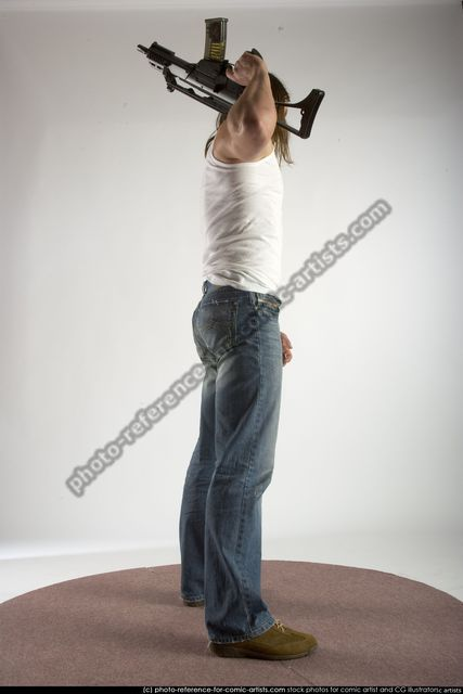 Man Young Muscular White Holding Standing poses Casual