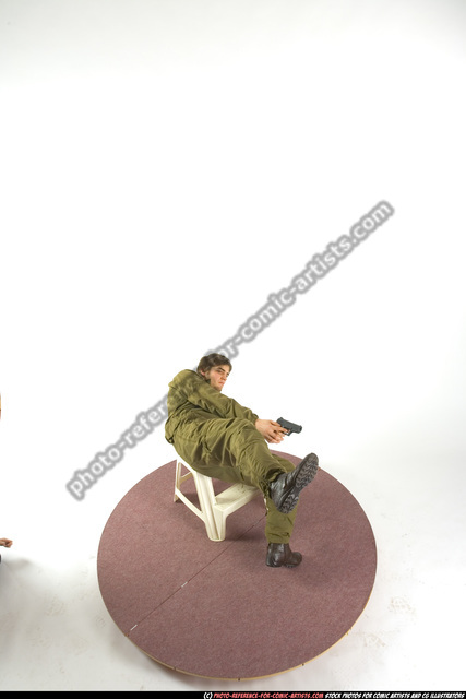Man Young Athletic White Fighting with gun Moving poses Army