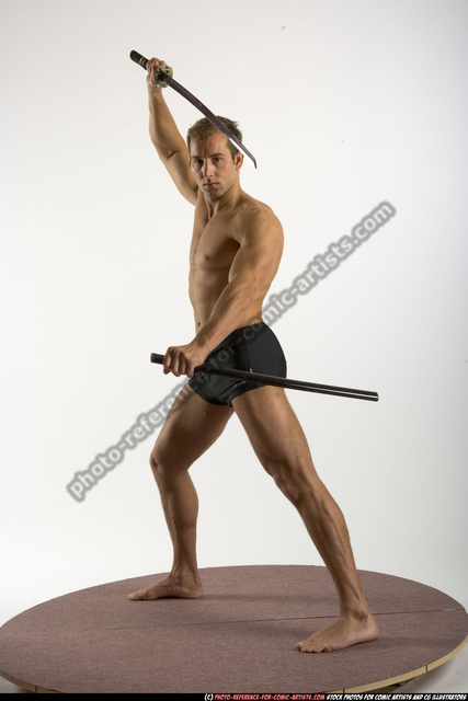 Man Adult Athletic White Fighting with sword Standing poses Underwear