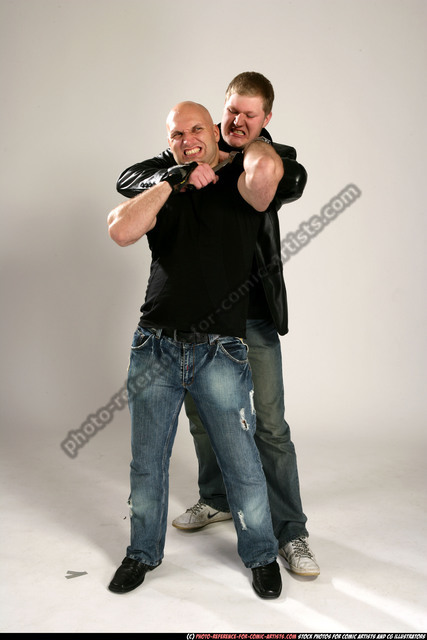 Adult Athletic White Fighting with knife Fight Casual Men