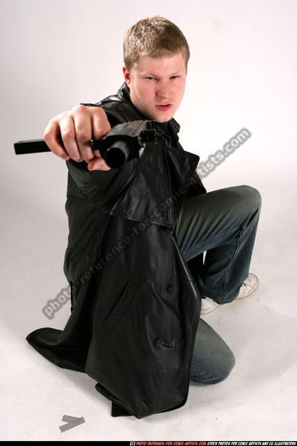 Man Adult Chubby White Martial art Kneeling poses Coat