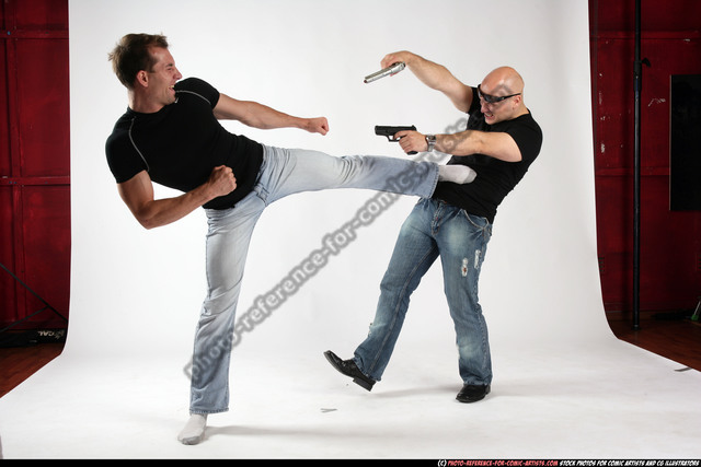 Adult Athletic White Fighting with gun Fight Sportswear Men