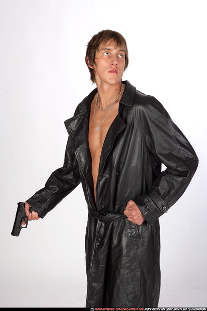 Man Young Athletic White Fighting with gun Standing poses Coat