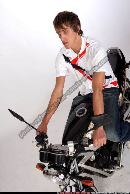 Man Young Athletic White Riding a bike Moving poses Sportswear