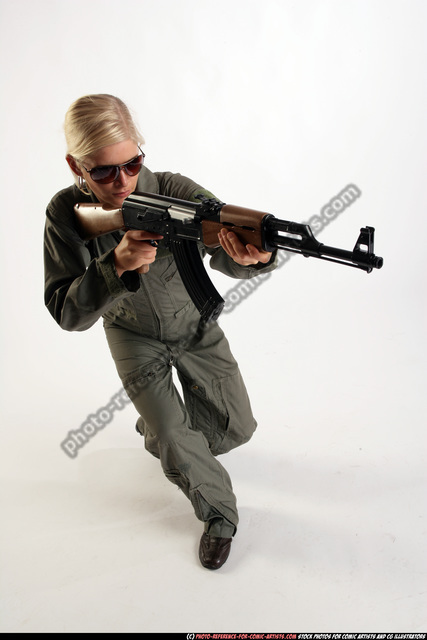 Woman Adult Athletic White Fighting with submachine gun Crouching Army