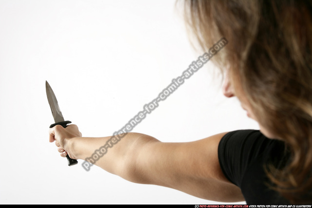 Woman Adult Average White Fighting with knife Detailed photos Sportswear