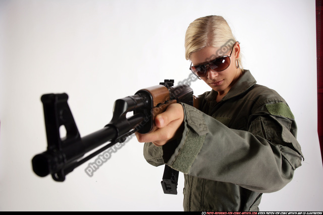 Woman Young Athletic White Fighting with submachine gun Detailed photos Army