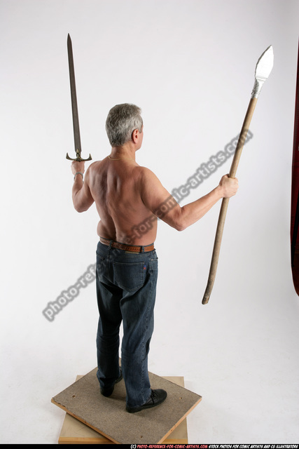 Man Old Chubby White Martial art Standing poses Pants