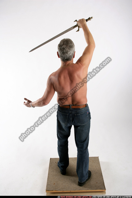 Man Old Chubby White Fighting with sword Standing poses Pants