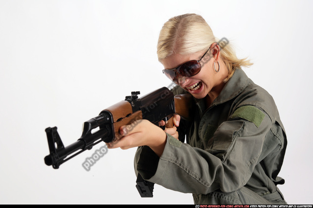 Woman Adult Athletic White Fighting with submachine gun Detailed photos Army