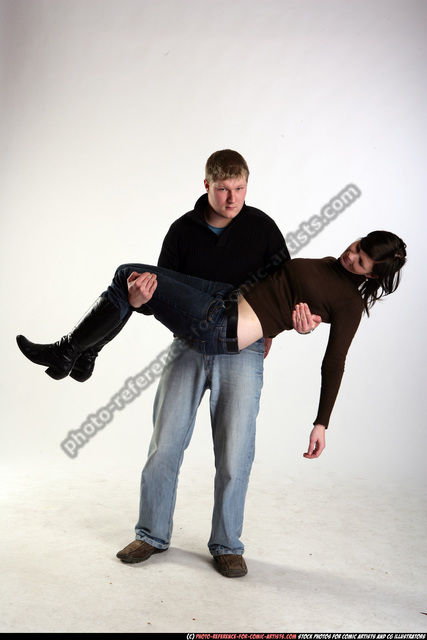 Man & Woman Adult Average White Carrying Moving poses Sportswear
