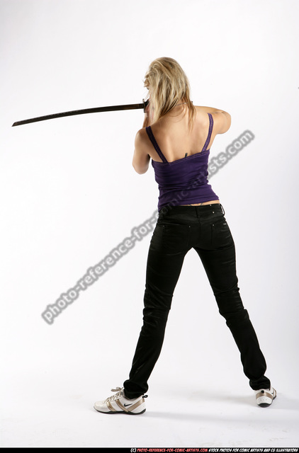 Woman Adult Athletic White Fighting with sword Standing poses Sportswear