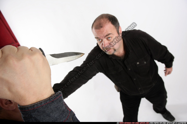 Old Chubby White Fighting with knife Fight Casual Men