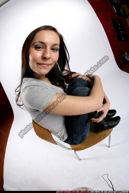 Woman Young Athletic White Daily activities Sitting poses Sportswear