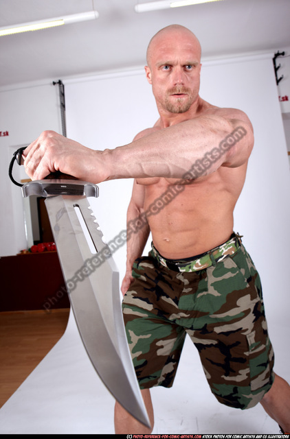 Man Adult Muscular White Fighting with knife Sitting poses Army