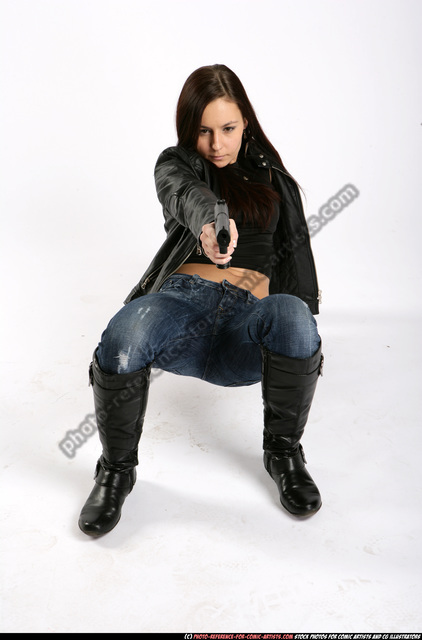 Woman Young Athletic White Fighting with gun Crouching Sportswear