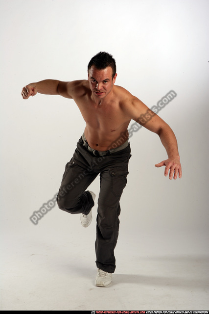 Man Adult Athletic White Fist fight Standing poses Pants