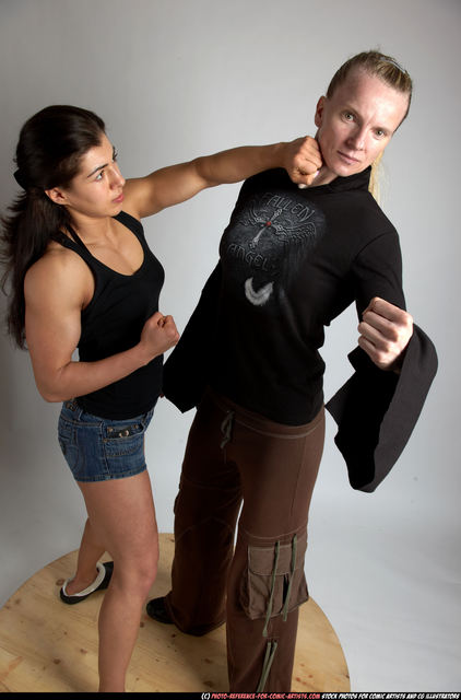 Adult Muscular White Fist fight Standing poses Casual Women