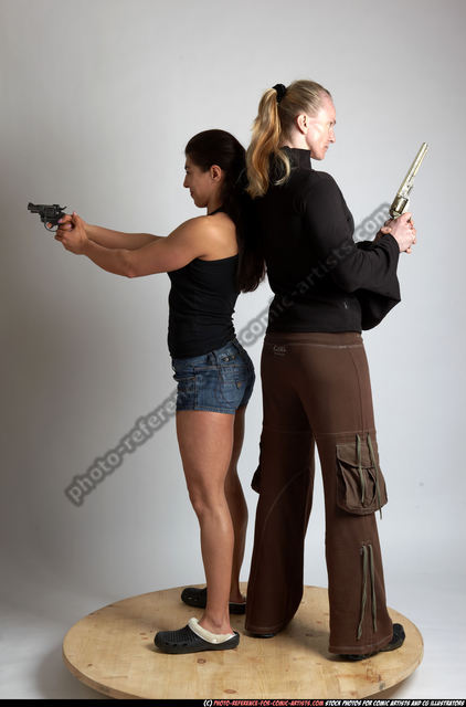 Adult Muscular White Fighting with gun Standing poses Casual Women