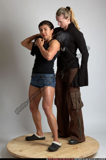 Adult Muscular White Fighting with knife Standing poses Casual Women
