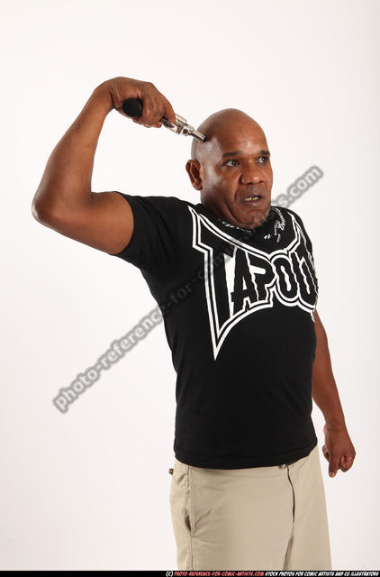 Man Old Average Black Fighting with gun Execution Casual