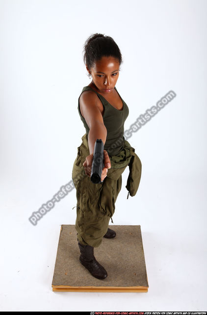Woman Young Athletic Black Fighting with gun Standing poses Army