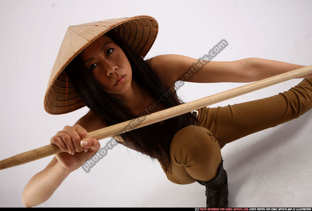 Woman Adult Athletic Martial art Kneeling poses Casual Asian