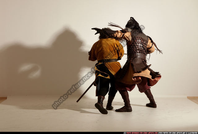Adult Average White Fighting with knife Moving poses Army Men