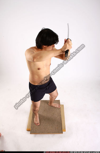 Man Adult Average Fighting with sword Standing poses Underwear Asian