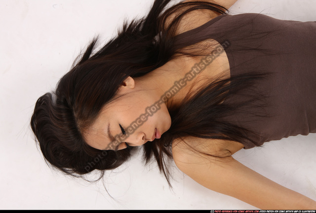 Woman Young Athletic Dead Laying poses Casual Asian