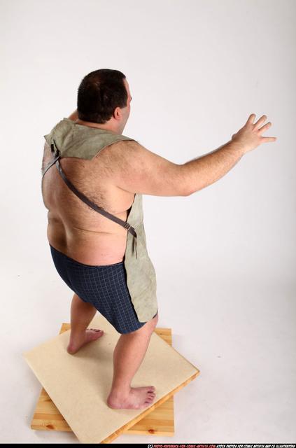 Man Adult Chubby White Fist fight Crouching Pants