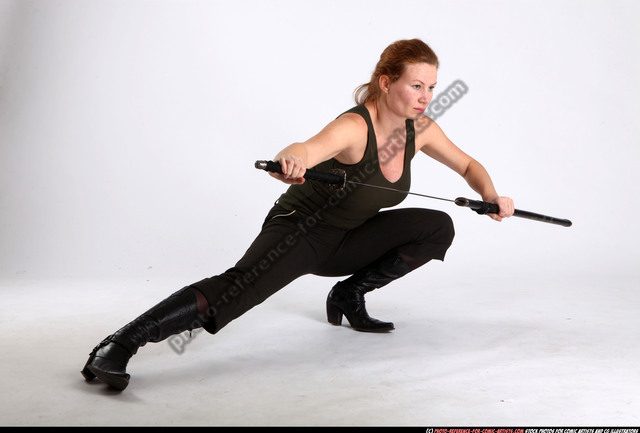Woman Adult Athletic White Fighting with sword Kneeling poses Casual