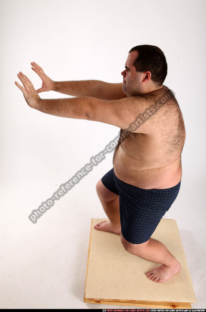 Man Adult Chubby White Neutral Moving poses Underwear