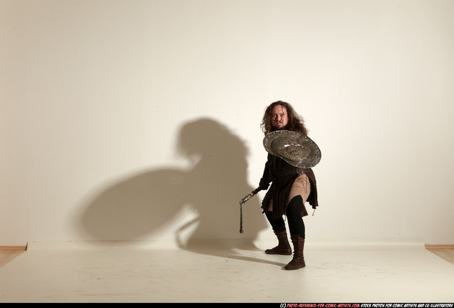 Man Adult Chubby White Fighting with hammer Moving poses Army