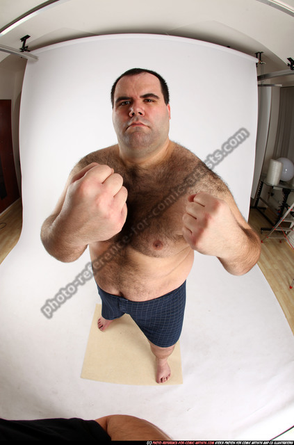 Man Adult Chubby White Fist fight Standing poses Underwear