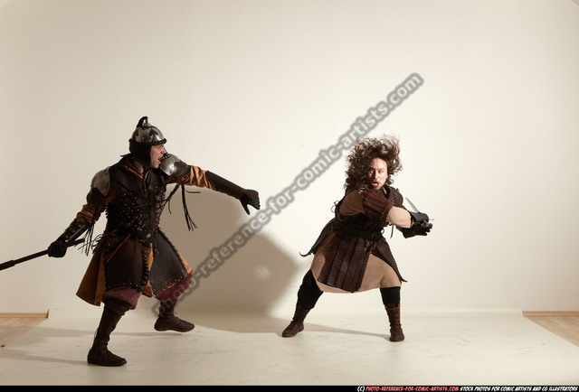 Adult Average White Fighting with sword Moving poses Army Men