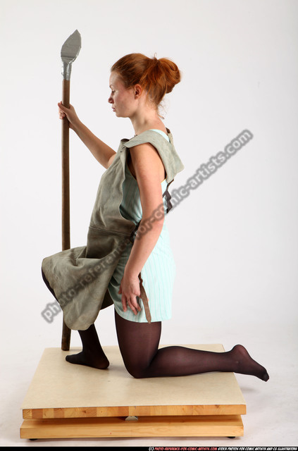 Woman Adult Average White Fighting with spear Kneeling poses Army