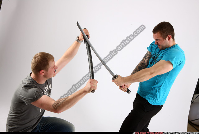 Adult Average White Fighting with sword Fight Casual Men