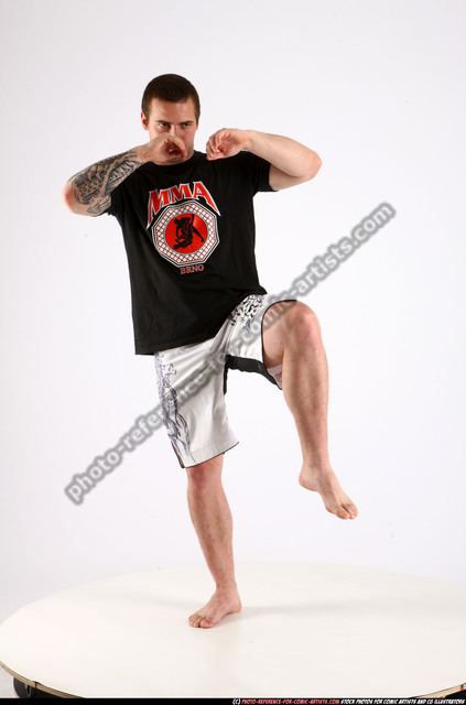 Man Adult Athletic White Martial art Standing poses Sportswear