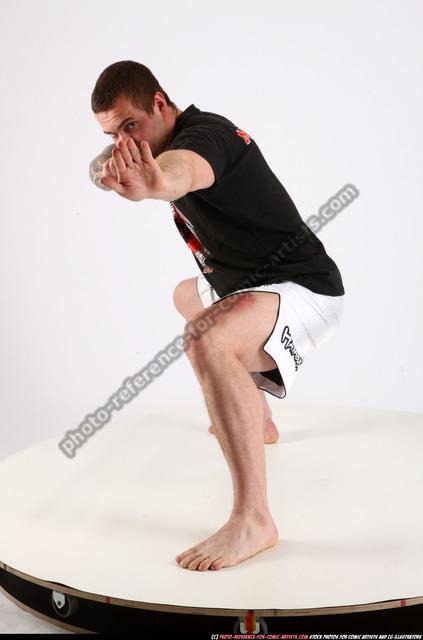 Man Adult Athletic White Martial art Kneeling poses Sportswear