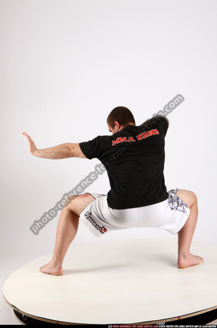 Man Adult Athletic White Martial art Kneeling poses Sportswear