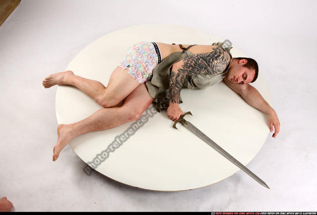 Man Adult Athletic White Dead Laying poses Army