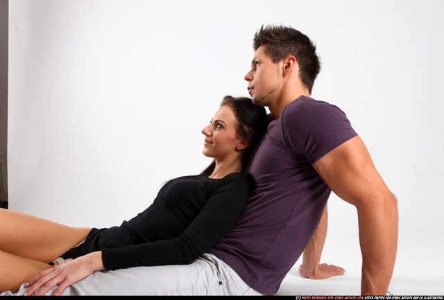 Man & Woman Adult Athletic White Daily activities Laying poses Casual