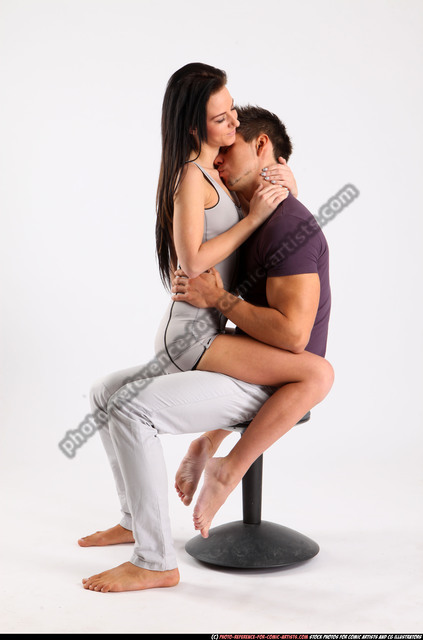 Man & Woman Adult Athletic White Daily activities Sitting poses Casual