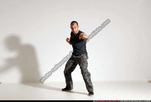 Man Adult Muscular White Fighting with knife Moving poses Army