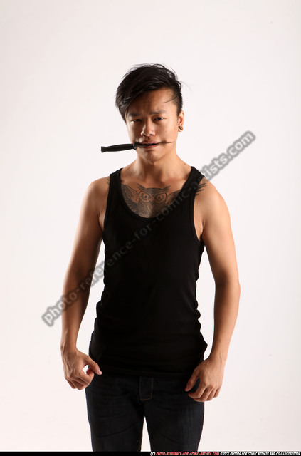 Man Young Athletic Fighting with knife Standing poses Casual Asian