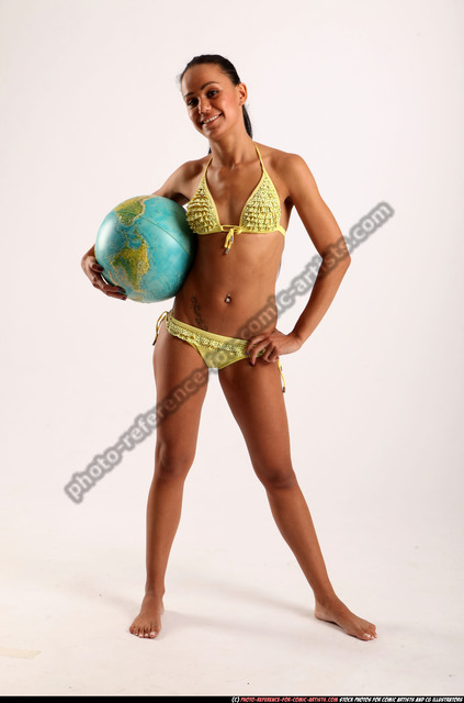 Woman Young Athletic Holding Standing poses Underwear Latino