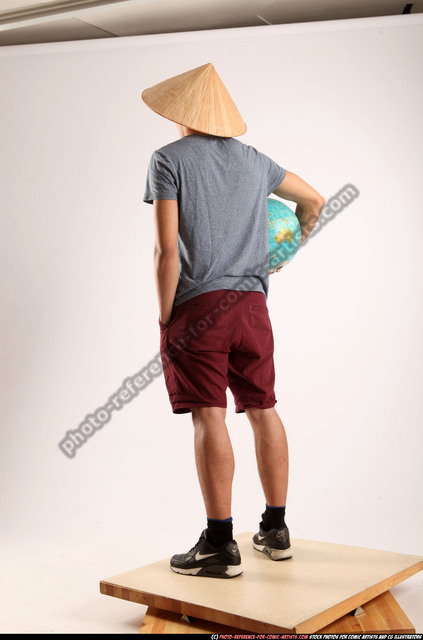 Man Young Athletic Holding Standing poses Casual Asian