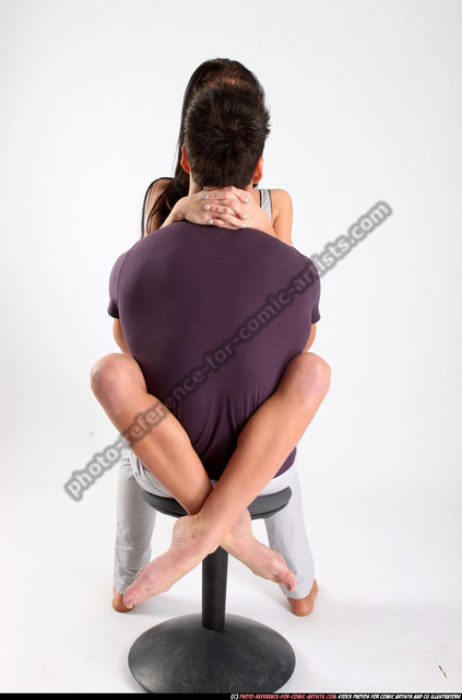 Man & Woman Adult Athletic White Holding Sitting poses Casual